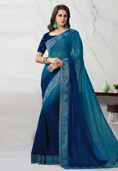 Buy Blue Chiffon Saree With Blouse 203758 with blouse online at lowest price from vast collection of sarees at Indianclothstore.com. Western Union Money Transfer, Long Cut, Indian Designer Outfits, Chiffon Saree, Blouse Online, How To Dye Fabric, Blue Fabric