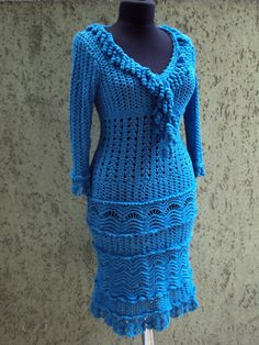 Knitted Crochet dress in blue with a unique by KnittingHobby, $500.00