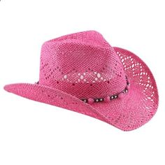 Pink Straw Cowboy Hat for Women with Beaded Trim and Shapeable Brim. Read more description on the website.