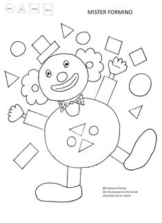 La maestra Linda: Pagliacci in. Preschool Learning, Craft Activities For Kids, Preschool Activities, Games For Kids, Kids Carnival, Carnival Birthday, Clown Crafts, Math Lab, Shapes Worksheets