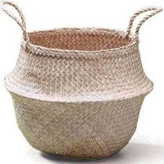 A monochromist Natural Seagrass Belly Basket Panier Boule Storage Large