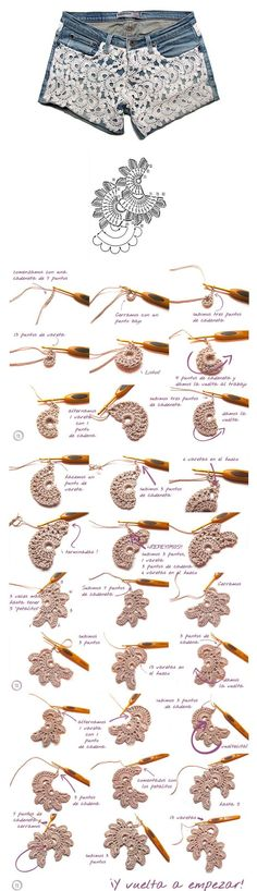 Floral crochet lace tape: Good step by step pictures!! Tutorial in Spanish on how to embellish jean shorts with lace ~~ http://www.creativaatelier.com/shorts-con-aplicaciones-de-crochet-diy/