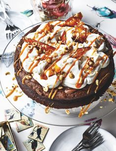 This rich Nutella and salted caramel soufflé cake, with its peaks of fluffy whipped cream, gets a salty kick from the nut brittle and drizzled caramel.