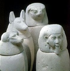 The heads of the funeral urns. I would like to work on Hâpi, which is the divinity with the monkey face.
