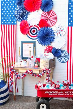 4th Of July Desserts, Fourth Of July Decor, 4th Of July Celebration, 4th Of July Decorations, 4th Of July Party, July 4th, Birthday Decorations, Patriotic Crafts, Patriotic Party