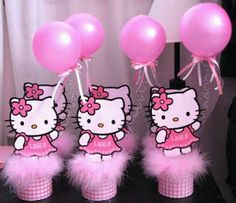 Hello Kitty centerpieces #party #birthday