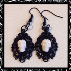 White skull gothic cameo dangle earrings  - pinned by pin4etsy.com