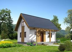 Projekt domu Martin LMW18 54,10 m² - koszt budowy - EXTRADOM Simple House Plans, Apartment Layout, Sims House, Gazebo, Outdoor Structures, House Styles, Home Decor, Houses, Projects