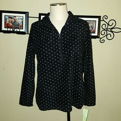 Half Zip Fleece Pull Over Black White Polka Dot Silverwear brand. Womens Plus Size 1X. Super soft fleece material.  Sweater/ Pull Over/ Jacket Black with white polka dots.  Half zip front. Very comfortable! So cute! Brand new with tags. Silverwear Jackets & Coats