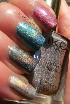 KIKO Cosmetics Lavish Oriental by Simona LightYourNails, via Flickr    Holo skittles! Love!
