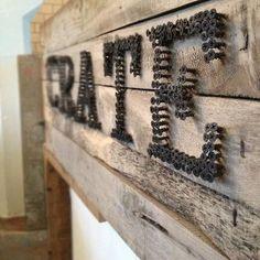 sign made of screws