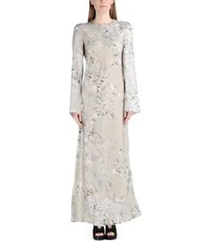 Calvin Klein Collection Long Sleeve Floral Printed Dress