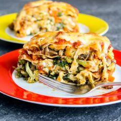 Loaded Veggie Lasagna Veggie Lasagna, Spinach Lasagna, Veggie Recipes, Vegetarian Recipes, Cooking Recipes, Veggie Meals, Spinach Stuffed Mushrooms, Stuffed Peppers, Lasagna