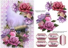Beautiful Belle Roses Bird On Lace on Craftsuprint designed by Anne Lever - This lovely topper features a beautiful bird sitting in gorgeous belle roses, on a pretty lace frame. It has a single layer of decoupage to add depth, four greetings to choose from and a blank greetings tile. The greetings are birthday wishes, mothers day, mum and nan.  - Now available for download!