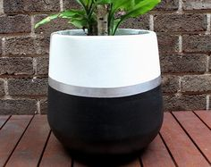 Hand Painted Lightweight Indoor Plant Pot Khaki Black Gold