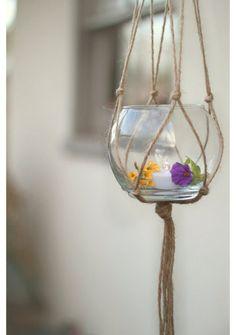 Makramee Dekoration blumenampel kerze halter glas