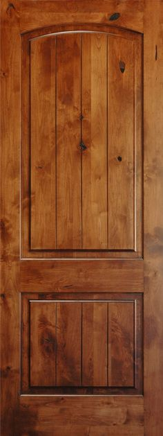 Interior Pine Doors | ft Interior V-Grooved Knotty Alder Arch Top 2-Panel Door