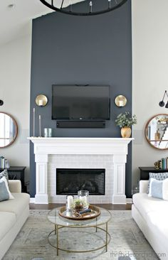 Tall fireplace wall transformation with paint! : Dramatic fireplace transformation with paint! from Thrifty Decor Chick Home Fireplace, Fireplace Accent Walls, Accent Walls In Living Room, Home Living Room, White Fireplace, Living Room With Fireplace, Tall Fireplace, Living Room Grey, Grey Fireplace