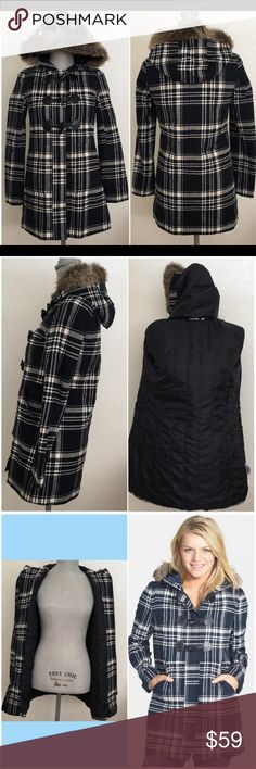 BP. Plaid Duffle Coat with Faux Fur Hood Warm coat for this chilly winter. Navy blue plaid patterns a comfy duffle coat styled with a faux fur-trimmed hood with glossy toggles an hidden zipper. In excellent condition with some signs of wear on the toggle loops. Visible up close but not so much when worn on. See last pics. BP. Jackets & Coats