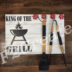 King of the grill sign wood grill sign grill by Freedom2Create