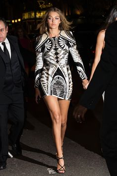 """WHO: Gigi Hadid WORE: Balmain x H&M WHERE: Harper's Bazaar Icons Event WHEN: September 16, 2015 Alexandra says: """"We've been anxiously awaiting the Balmain for H&M collection ever since we first saw it on the Billboard awards red carpet, and now that we've gotten yet another glimpse at it — here worn by Gigi Hadid — we're even more excited for the collab."""""""
