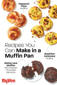 Check out our list of delicious muffin recipes everyone will love! Muffin Pan Recipes, Pizza Recipes, Pizza Muffins, Breakfast Muffins, Mexican Chocolate, Homemade Breakfast, Cheese Spread, Lava Cakes, Brunch