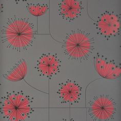 Storm Grey With Coral Pink Printed Modern Floral Wallpaper