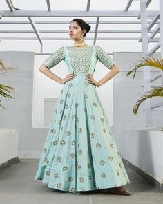 DETAILS. Mint anarkali cut out gown with hexagon embroidery on sleeves, body and on bottom. Includes a tulle embroidered dupatta. Also available in yellow, gre