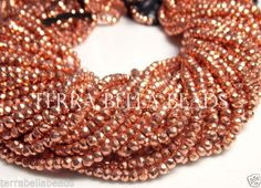Full-13-inch-strand-bright-copper-coated-PYRITE-faceted-rondelle-beads-3mm
