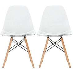 2xhome - Set of Two (2) - Eames Style Side Chair Natural Wood Legs Eiffel Dining Room Chair - Lounge Chair No Arm Arms Armless Less Chairs Seats Wooden Wood Leg Wire Leg Dowel Leg Legged Base (Clear)