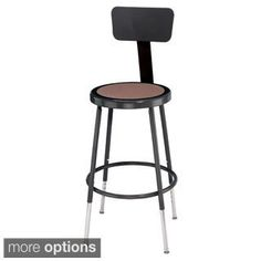Black Stool with Round Hardboard Seat and Backrest - 16301444 - Overstock.com Shopping - The Best Prices on National Public Seating Commercial Stools