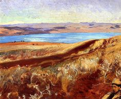 Landscape with the Lake of Tiberias (Sea of Galilee) (also known as The Dead Sea or A Young Boy with Dead Sea Behind) John Singer Sargent - 1905-1906