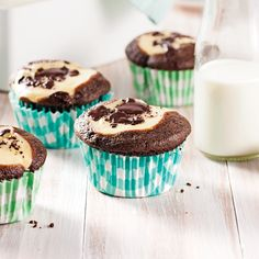 Muffins au chocolat et fromage à la crème - Les recettes de Caty Biscuits Graham, Brownies, Brunch, Sugar, Breakfast, Desserts, Recipes, Portion, Food