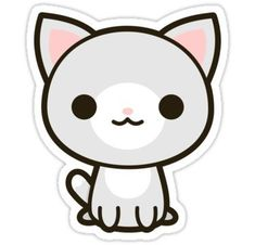 & # Kawaii gray and white cat & # Stickers by peppermintpopuk - Cats and Dogs House Doodles Kawaii, Cute Kawaii Drawings, Cute Animal Drawings, Cute Cat Drawing, Stickers Kawaii, Cat Stickers, Cute Kawaii Animals, Kawaii Cat, Png Kawaii