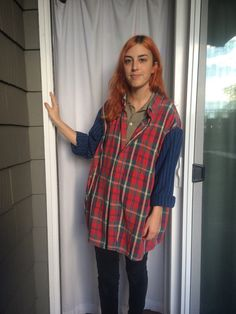 Upcycled Flannel shirt with unique color 90s style by RaysAttic
