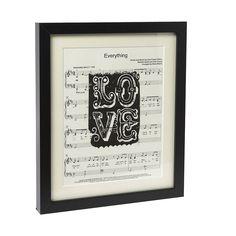 7c5eb1ff1142 Personalised Sheet Music Love Art Print. First Anniversary PaperAnniversary  IdeasValentines ...