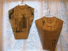 Vintage Trifles made cardboard bodices to display jewelry