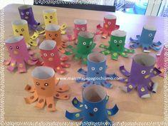 Rotoli di carta igienica che si trasformano in simpatici polpi