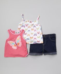 Loving this Peanut Buttons Pink & White Butterfly Tank Set - Infant & Toddler on #zulily! #zulilyfinds