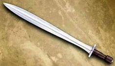 The xiphos is a double-edged, single-hand sword used by the ancient Greeks.  It was a secondary battlefield weapon for the Greek armies after the spear or javelin. The classic blade was generally about 50–60 cm long, although the Spartans supposedly started to use blades as short as 30 cm around the era of the Greco-Persian Wars. The xiphos sometimes has a midrib, or is diamond or lenticular in cross-section. It was generally hung from a baldric under the left arm.
