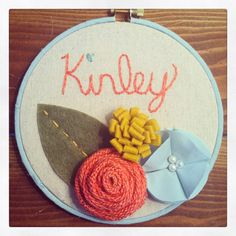 Embroidery hoop art, name embroidery, girl embroidery, nursery decor, nursery embroidery, baby gift on Etsy, $18.00
