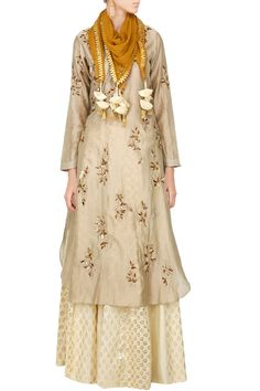 Joy Mitra Indian Designer Beige Kurta Skirt Set With Scarf