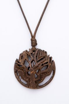 """Gift for him Pendant """"The Tree Of Life"""" from Coconut Shell abstract unisex pendant natural hand carved organic polished pendant wood pe - $56.80 USD"""