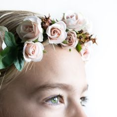 Artificial mini-rose and rosehip wedding flower crown