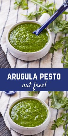 Switch up your pesto game with this arugula pesto. It's great on pasta, pizza, and so much more! Get the pesto recipe on ! Arugula Pesto Recipe, Arugula Recipes, Pasta Recipes, Cooking Recipes, Dinner Recipes, Dip Recipes, Sauce Recipes, Dinner Ideas, Gourmet