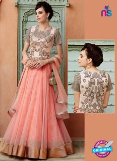 Heer 3207 Peach Color Net Embroidered Gawn