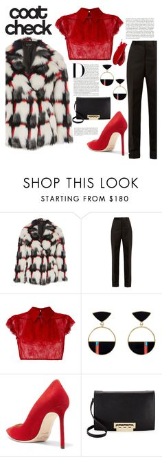 """Statement coats"" by redgreenblue ❤ liked on Polyvore featuring Topshop, Maison Margiela, N°21, Jimmy Choo, ZAC Zac Posen, Balmain, coats, winterfashion, winterwear and winterstyle"