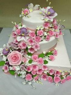 Wedding Cake With Pink Purple Flowers Rectangle And Round Layers By Js Pastry Shop In