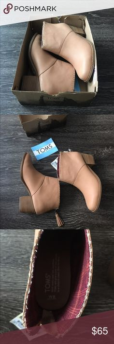 TOMS Leila Bootie Gorgeous bootie, you'll wear this staple with everything from skirts to cuffed jeans. Leather, wool, or textile upper. Rear zip closure. Textile lining and footbed. Stacked heel. Synthetic outsole. Measurements: Heel Height: 2 1⁄4 in. Weight: 14 oz. Circumference: 11 1⁄2 in. Shaft: 5 in TOMS Shoes Ankle Boots & Booties