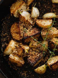 Pan-Fried Thyme Hakurei Turnips, sprinkled with breadcrumbs